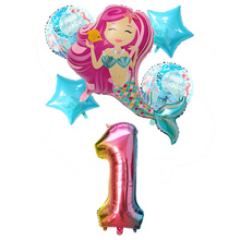 Mermaid Party Decoration Balloons Little Number Kids 1st Birthday Under The Sea Supplies