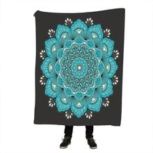 Floral Lotus Sherpa Blanket for Beds Velvet Plush Boho Mandala Throw Flowers Bedspread Sofa Cover 1pc