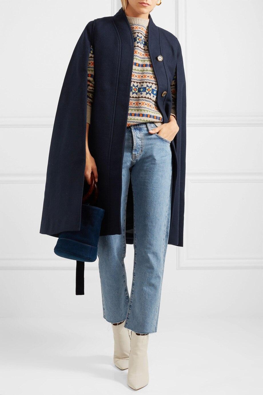 Женское шерстяное пальто-накидка, Свободные повседневные пончо, модное осенне-зимнее пальто, шерстяное пальто-накидка