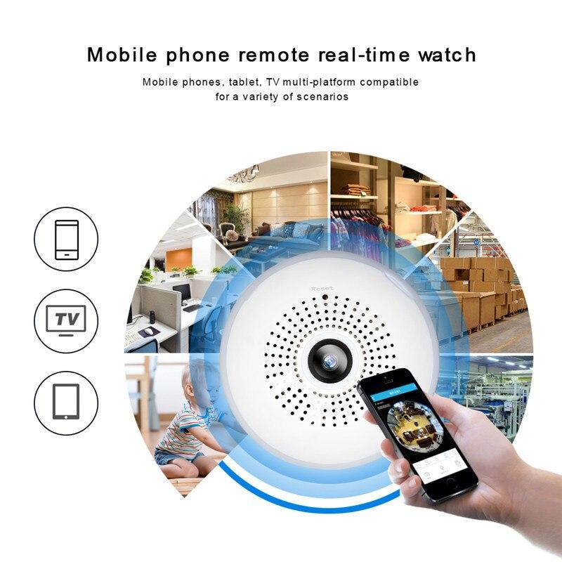 AGM LED ampoule lumière WiFi caméra Fisheye 960 P sans fil panoramique sécurité à domicile CCTV IP caméra 360 degrés nuit Vision lampe E27 - 4