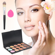 New 3 in1 Set 15 Color Concealer Palette + Makeup Brush + Cute Pink Sponge Puff Makeup Contour Palette