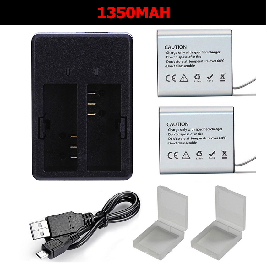 1350mah Action Camera Battery Dual Charger for Eken h9r H9 h8R H8 V8S H5S H6S H7S SJCAM SJ4000 SJ5000 M10 GITUP DBPOWER Thieye in Sports Camcorder Cases from Consumer Electronics