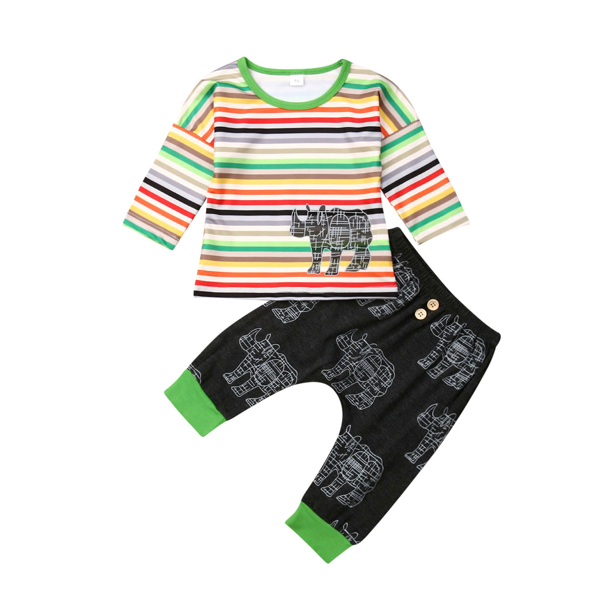 2019 Newly 0-24M Infant Kids Baby Boys Girls Clothes Sets Rainbow Striped Long Sleeve Tops+Pants