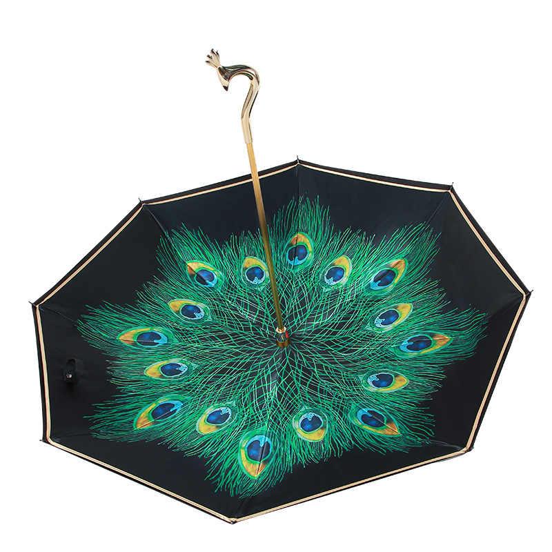 Parapluie de paon de luxe à manches longues coupe-vent protection solaire parapluie Double couche parapluie femmes Parasol cadeau Unique U5U