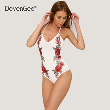 DevenGee Elegant Summer Beach Body Bodysuit Women Sexy Backless Floral Embroidery Rompers Womens Jumpsuit White Catsuit Overalls