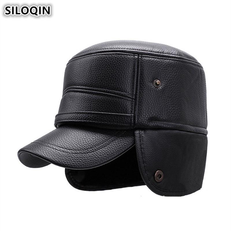 SILOQIN Earmuffs Hat Snapback Caps Winter New Men's Warm Military Hats PU Plus Velvet Thick Brands Male Bone Flat Cap For Men
