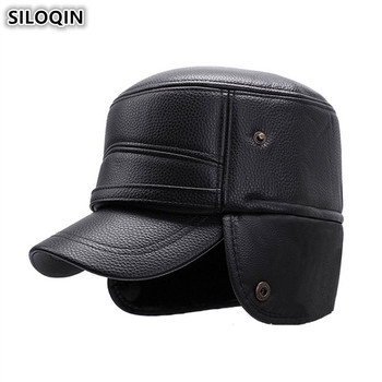 SILOQIN Earmuffs Hat Snapback Caps Winter New Men's Warm Military Hats PU Plus Velvet Thick Brands Male Bone Flat Cap For Men siloqin middle aged men s army military hats with ears autumn winter cowhide earmuffs flat cap leather caps genuine leather hat