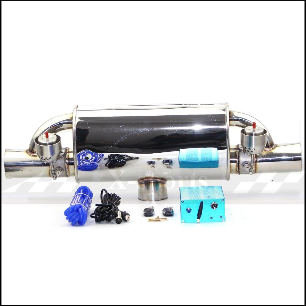 Tubo de escape de coche, bomba de vacío, silenciadores de válvulas variables, control remoto, ID universal de acero inoxidable, 51mm, 63mm, 76mm, forma T, 400mm