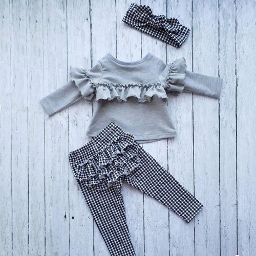 Toddler Kids Baby Girl clothes Ruffle long sleeve Tops + plaid Pants Leggings +headband 3Pcs Outfits Clothes set