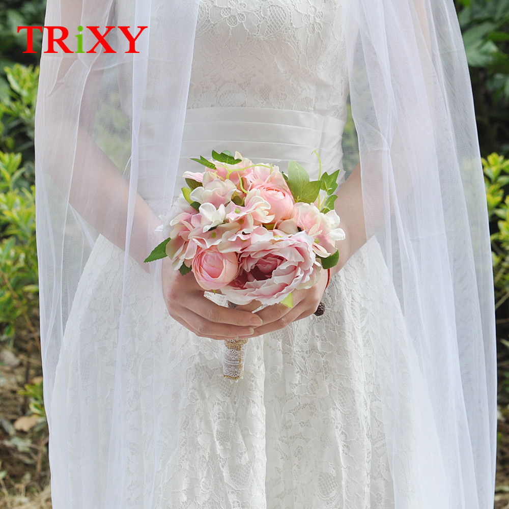 Weddings & Events Trixy B15 Free Shipping Charming Wedding Bouquet Bride Bridal Holding Flowers Pink Rose Artificial Flowers Bridal Bouquets