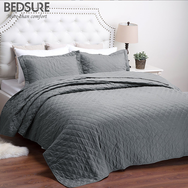 Bedsure Grey Quilt Set Diamond Pattern Bedspread Bed Cover Quilted Bedding Duvet Pillowcase Quilts Warm Coverlet