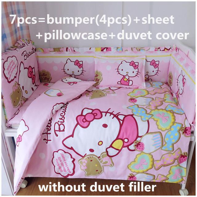 Promoção! 6 / 7 PCS olá Kitty algodão jogo de cama berço cama conjunto berço adesivos 120 * 60 / 120 * 70 cm