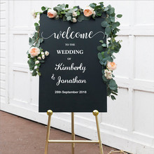 Welcome to Wedding Custom Name Wall Sticker Decor Names Date Personalized Removable Waterproof Poster LY1440