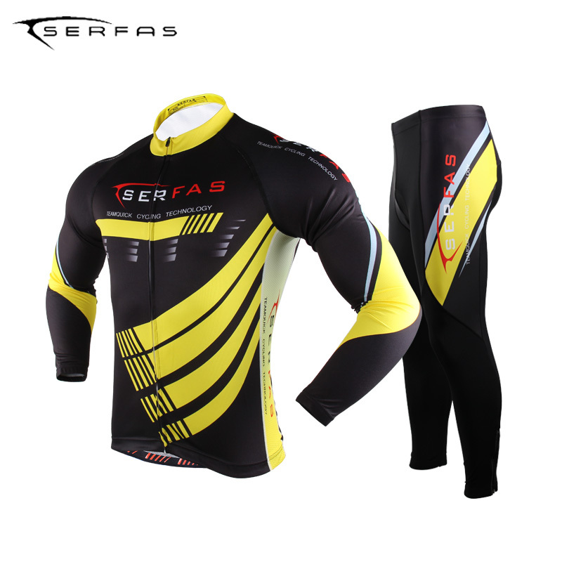 ФОТО SERFAS Bicycle Outdoor Sports Cycling Men's Long Sleeve Pants Sets Breathable Professional Bicycle Sportswear Black-Yellow