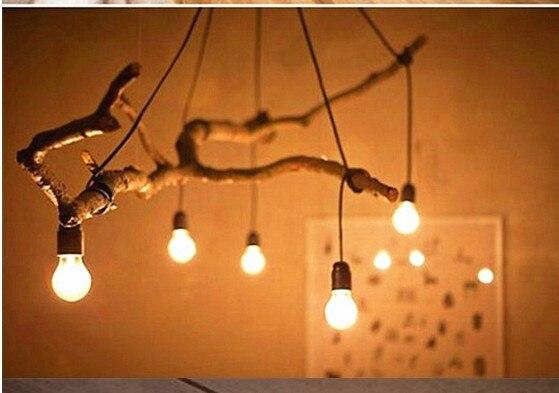 Us 3184 13 Off Drewno Diy Medytować Na Gałęzi Wózek Widłowy Lampy I Latarnie Akcesoria E27 W Wysokiej Temperaturze Lampy Droplight Linii W