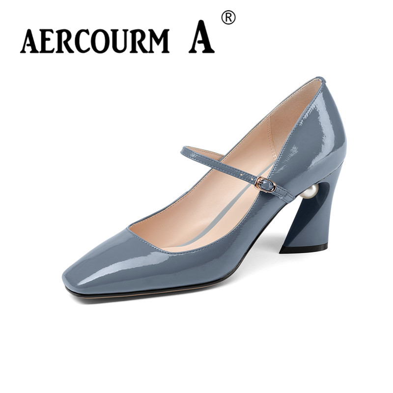 Aercourm A 2018 Women buckle strap Fashion Shoes Female Bright Genuine Leather Shoes Pearl High Heel Pumps Square head Shoes 337 aercourm a 2018 new women genuine leather shoes ladies white pink dress solid shoes thin heel women pointed head pumps fde1121