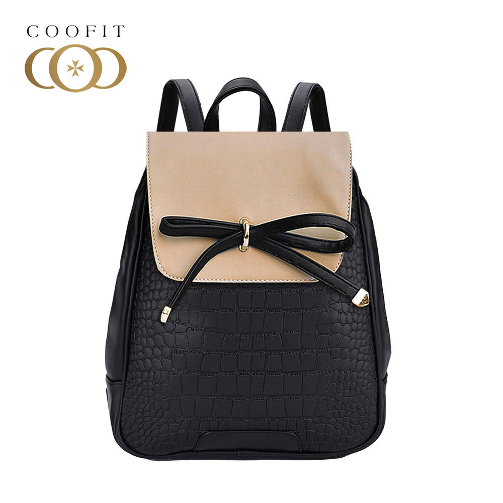 Coofit Casual Bowknot Female PU Leather Backpack Women String Bag Stylish School Bagpacks For Girls Teenager Flap Cover knapsack