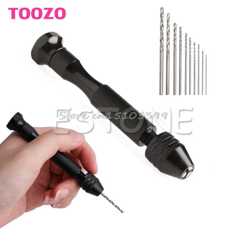 цена на Mini Micro Aluminum Hand Drill Keyless Chuck +10pcs Twist Drills Rotary Tools