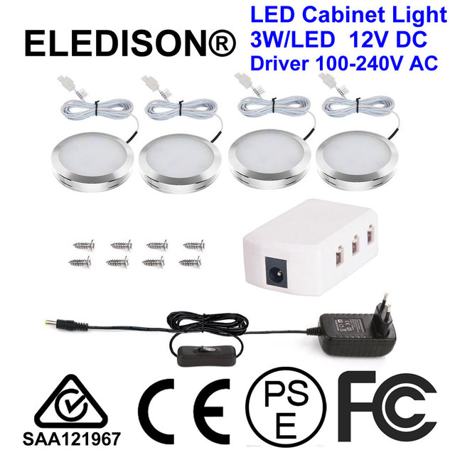 LED Under Cabinet Light 12W Kitchen Cupboard Light 4LED US EU Plug Completed Set Mounted Type Power Supply On Off Switch Screws