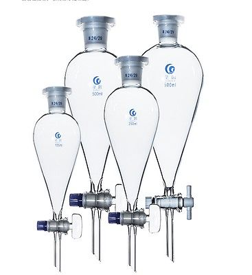 500ml 24/29 Joint Chemistry Laborotary Glass Pear Shaped Separatory Funnel with PTFE Stopcock Free Ship 500 ml separatory funnel with glass stopper 24 40 joint ptfe stopcock seperatory funnel