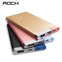 Рок Запасные Аккумуляторы для телефонов 5000 мАч Портативный Зарядное устройство двойной Вход Порты Мощность Bank внешняя Батарея для iphone Samsung Xiaomi металлический сплав