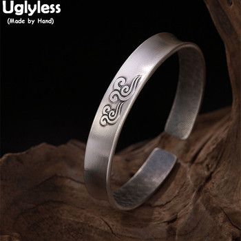 Uglyless 100% Real Solid 999 Full Silver Wide Bangles for Women Exotic Clouds Open Bangle Handmade Fine Jewelry Ethnic Bracelets