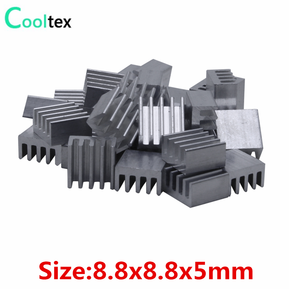 50pcs Extruded Aluminum Heatsink 8.8x8.8x5mm Heat Sink For Electronic Chip VGA RAM LED IC Radiator COOLER Cooling
