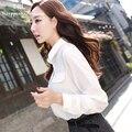DisappeaRanceLove Marca 2017 Resorte de Las Mujeres blancas Blusas de Manga Larga de Señora de la Oficina Elegante de Rayas Camisetas