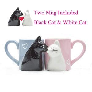 Image 2 - 2pcs 럭셔리 키스 고양이 컵 커플 세라믹 머그잔 결혼 커플 기념일 아침 머그잔 우유 커피 차 아침 발렌타인 데이