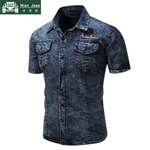 2018 Fashion Brand New Denim Shirt Men Short Sleeve Mens Shirts Military Style Male High Quality Streetwear Shirts Size S-2XL Multan