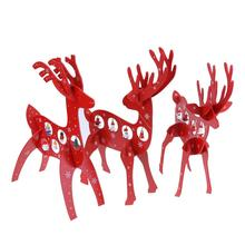 Kids Christmas Gifts Red Elk Ornaments Assembled Wooden Christmas Decorations for Home Windows Shops Deer Pendant