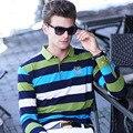Alta calidad de los hombres Camisa de Polo nueva marca polo homme otoño Largo hombre Polo de manga a rayas Slim Fit Business Casual Hombre polo shirts