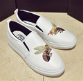 Spring Summer Flats Women Genuine Leather Shoes woman Loafers round toe Embroidered casual Shoes slip-on Walking women Creepers