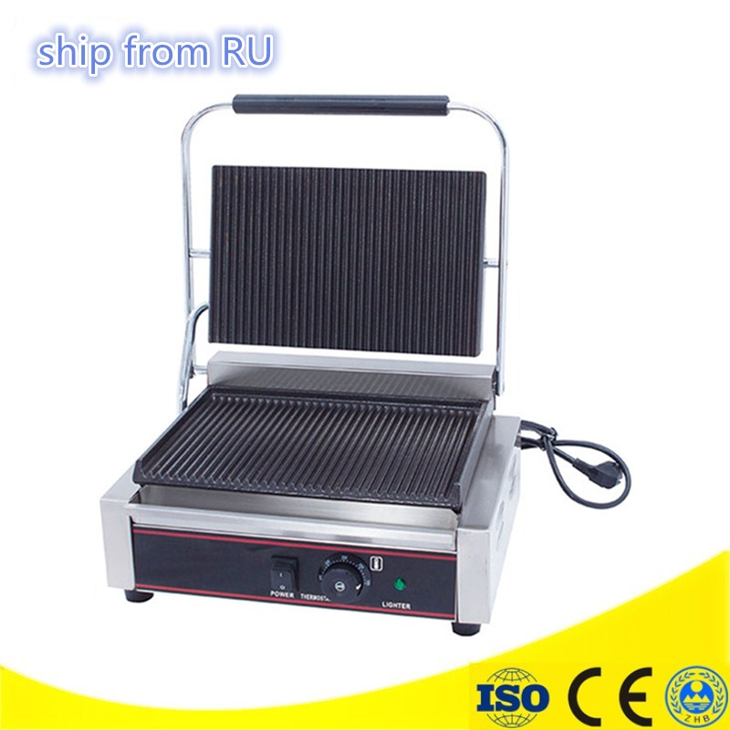 RU Stock Commercial Panini Grill Sandwich Maker Contact Grill Electric Griddle with Single Head Groove Plates el libro de jonas