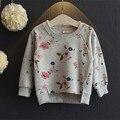 Meninas floral impresso camisa básica outono casual tops camisa para 3-sete anos de idade do bebê caçoa a roupa cinza camisa transporte da gota de varejo