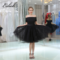 Free Shipping Custom Made Little Black Dresses Cocktail Dresses 2017 Strapless Lace Zipper Back Cocktail Party