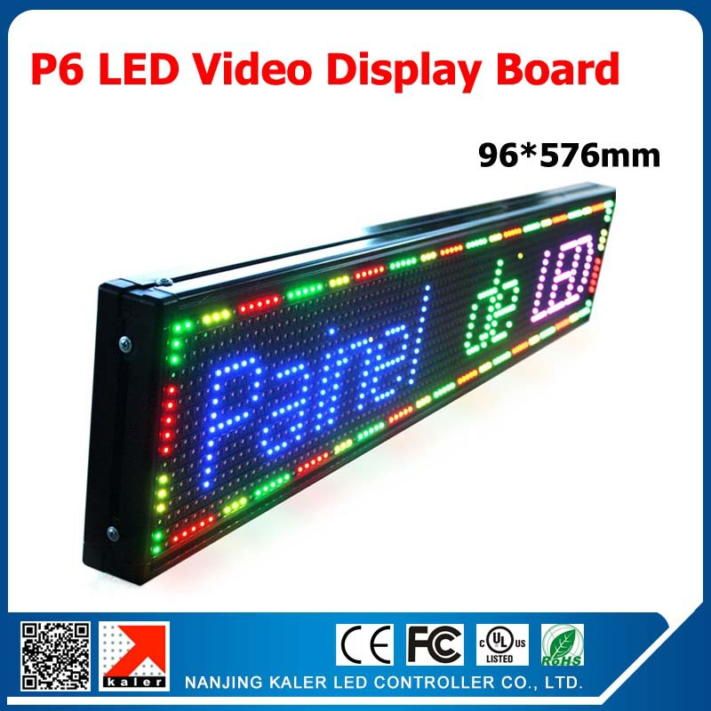 TEEHO Indoor SMD Full Color P6 LED Display Panel Programmable LED Message Display Board 3.8x22.7 Inches Indoor P6 RGB LED Panel
