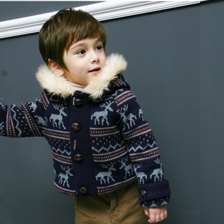 2016 Winter Kids Thick Outerwear Coats/Velvet Inside, Boys Elk Pattern Fur Hooded Jacket, Baby Clothing