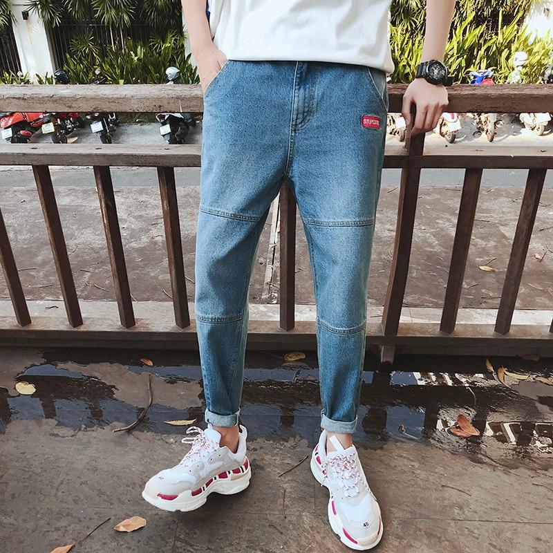 2018 New Mens Fashion Trend Stretch Slim Fit Jeans Homme Denim Haren Casual Pants Wash Blue Cowboy Trousers Plus Size M-2XL