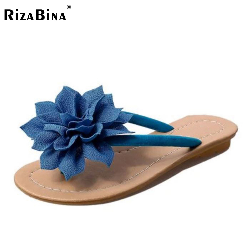 RizaBina flower brand quality leisure women sandals slippers summer shoes beach flip flops women footwear size 36-40 WD0140