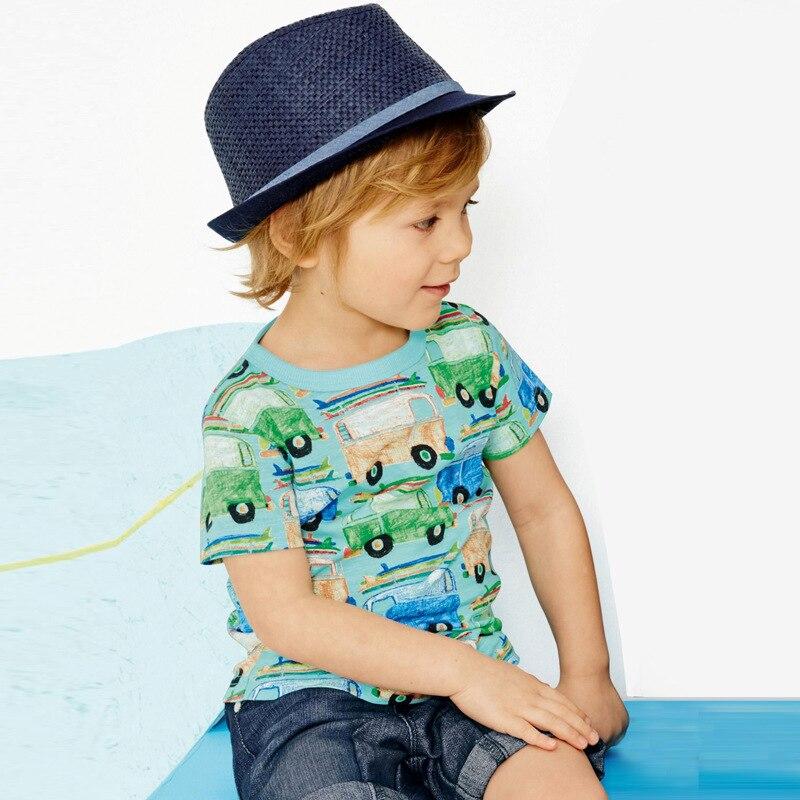 2016 New Fashion Baby Boys Girls T shirt Car Print Children Clothing Outfits Short Sleeve 100