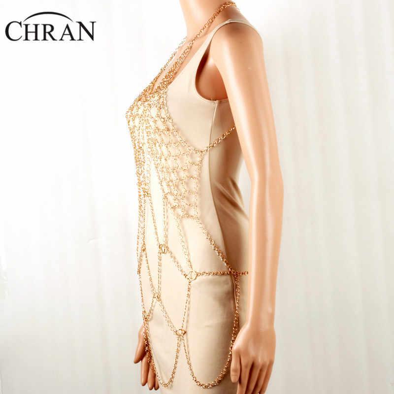 Chran סקסי רשת מלא חוף כיסוי שרשרת ביקיני ללבוש תכשיטי אופנה שמלת דקור שרשרת חוף לרתום שכבה שרשרת ללבוש תכשיטים