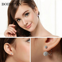Hot Sale Double Sides Big Ball Crystal Stud Earrings Women Candy Colors Pendant Earrings Wedding Fashion Jewelry Party Bead Ear цена в Москве и Питере