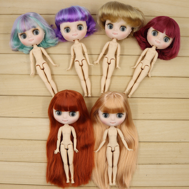Middie blyth nude doll 20cm JOINT body Frosted face with makeup gray eyes soft hair DIY toys gift with gestures
