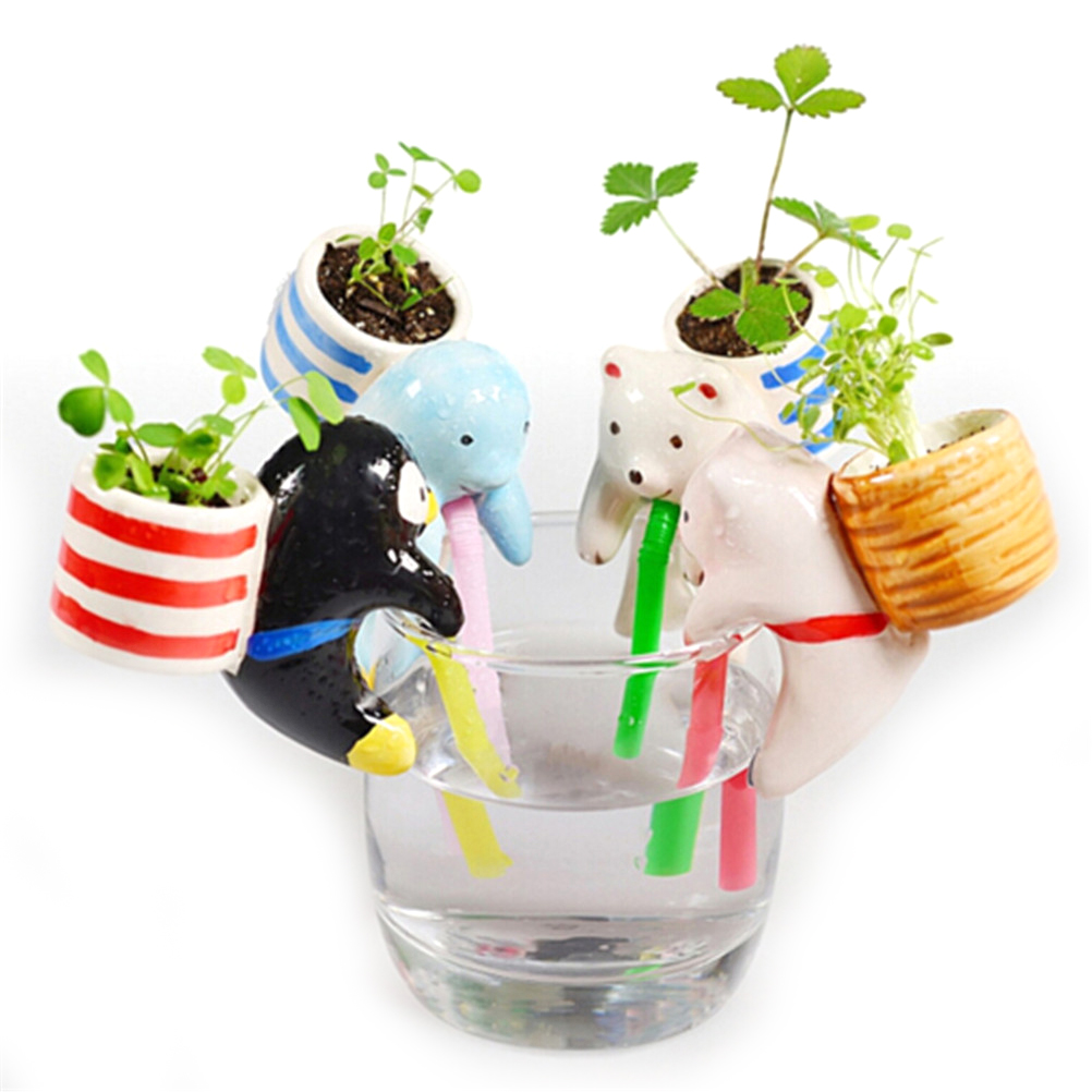 1set Peropon Watering Plate Chuppon Toy 10cm Cartoon Drinking Cup Animal Tail Drinking Straws Self Watering Planter Probes Pot