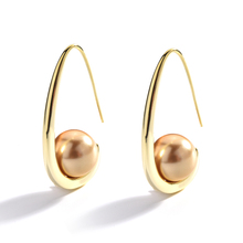 Large Pearl Modern Geometric Gold Earrings European and American Style Classic Simple Fashion Charm Jewelry For Women
