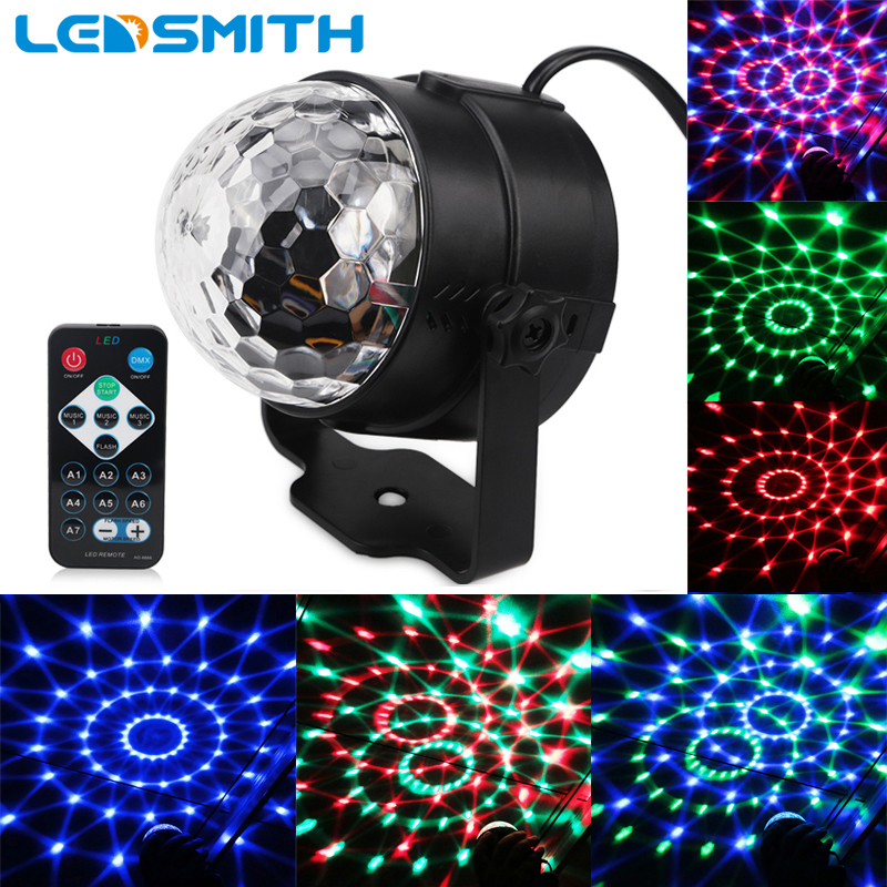 3W RGB Party Stage Light Music Sound Activated Rotating Magic Ball Projector Remote Control Dancing Disco Lights for DJ KTV Bar mini rgb 3w crystal magic ball led stage lamp dj ktv disco laser light party lights sound ir remote control christmas projector