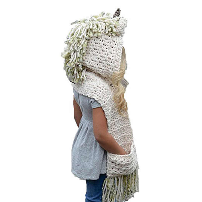 edbd71ceb Cute Warm Children Winter Hooded Knit Hat Boys Girls Crochet Hats Animal  Beanies Scarf Neck Warmer