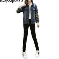 Plus Size 5XL 2018 Floral Embroidery Short Jacket Coat Spring Summer Women Outwear Fashion Chi Bomber Denim Jackets D295