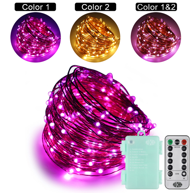 2018 Led string lights Dual-Color 20M 66ft 9V 6AA outdoor Xmas festival wedding party decoration+Smart Remote (Warmwhite+purple)